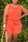 Orange Fashion Casual Sleeveless Sports Romper