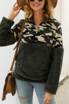 Army Green Fashion Patchwork Long Sleeve Camouflage Print Top