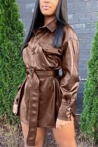 Khaki Fashion Casual Solid With Belt Turndown Collar Outerwear