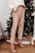 Pink Daily Solid Sequins Mid Waist Pencil Bottoms