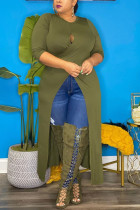 Green Street Solid Split Joint O Neck Plus Size