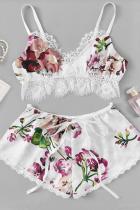 White Sexy Printed Underwear Two-piece Set