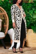 White Casual Leopard Split Joint V Neck Outerwear