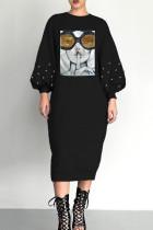 Black Trendy Printed Mid Calf Dress