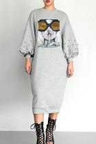 Grey Trendy Printed Mid Calf Dress