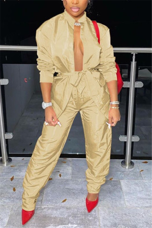 Khaki Sexy Casual Solid Basic Long Sleeve Two Pieces