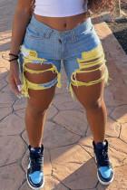 Yellow Fashion Sexy Broken Hole Denim Pants