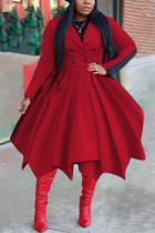 Red Fashion Casual Solid Cardigan Turndown Collar Outerwear