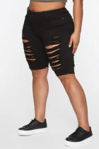 Black Fashion Plus Size Broken Hole Denim Pants