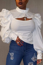 White Fashion Casual Solid Hollowed Out Turtleneck Tops