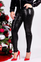 Black Fashion Party Solid Sequins Sequined Skinny Mid Bottoms