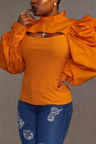 Orange Fashion Casual Solid Hollowed Out Turtleneck Tops