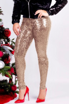 Apricot Fashion Party Solid Sequins Sequined Skinny Mid Bottoms