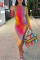 Rainbow Color Sexy Print O Neck Irregular Dress Dresses