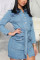 Blue Sexy Solid Split Joint Turndown Collar Pencil Skirt Dresses