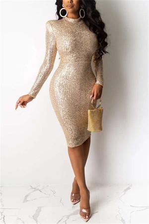 Khaki Fashion Sexy Solid Sequins Split Joint O Neck Pencil Dresses