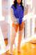 Blue Work Daily Plaid Print Turndown Collar Mid Waist Tops