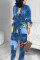 Blue Elegant Print With Belt Turndown Collar Regular Jumpsuits