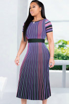 purple Casual Fashion Cap Sleeve Short Sleeves O neck A-Line Mid-Calf Print Striped Patchwork