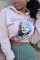 Pink British Style Print Hooded Collar Mid Waist Tops