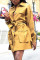 Yellow Casual Solid Split Joint Turndown Collar Dresses