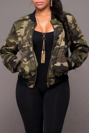 Camouflage Fashion Casual Zipper Collar Long Sleeve Regular Sleeve Camouflage Print Plus Size