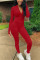 Wine Red Casual Solid Slit V Neck Skinny Jumpsuits