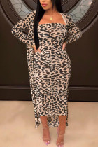 Leopard Print Fashion Sexy Print Leopard Cardigan Long Sleeve Two Pieces