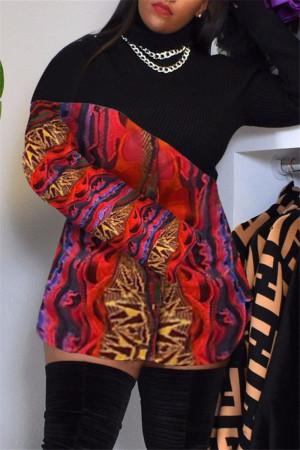 Red Fashion Sexy Print Split Joint Turtleneck Long Sleeve Dress