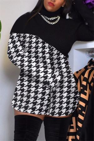 Black White Fashion Sexy Print Split Joint Turtleneck Long Sleeve Dress