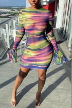 Green Purple Sexy Print O Neck Pencil Skirt Dresses