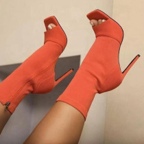 Orange Daily Hollowed Out Sequins Pointed Leather Shoes