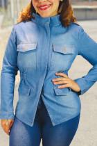 Blue Street Solid Mandarin Collar Outerwear