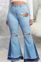 Baby Blue Sexy Ripped Plus Size