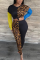 Peacock Blue Casual Leopard Split Joint O Neck Long Sleeve Two Pieces