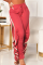 Red Casual Solid Split Joint Harlan High Waist Harlan Bottoms