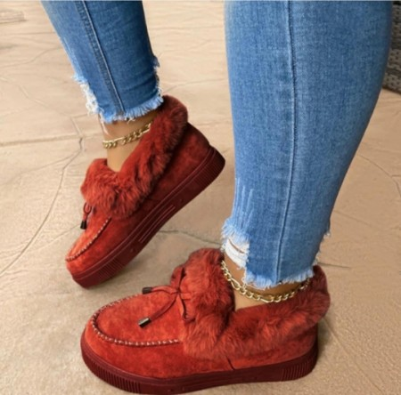 Wine Red Casual Round Keep Warm Shoes
