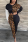 Black Casual Leopard Split Joint O Neck Long Sleeve Two Pieces