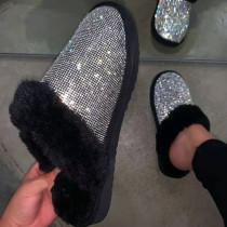 Black Fashion Casual Hot Drill Keep Warm Plush Slippers