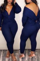 Deep Blue Casual Cross-over Design Two-piece Pants Set