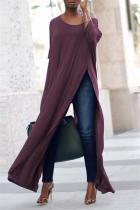 Purple Fashion Wide Neckline Split Long Tops