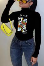 Black Casual Print Turtleneck Tops