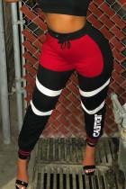 Black Street Sportswear Print With Belt Regular Mid Waist Pencil Bottoms