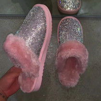 Pink Fashion Casual Hot Drill Keep Warm Plush Slippers
