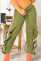 Light Green Casual Solid Split Joint Harlan High Waist Harlan Bottoms