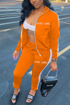 Orange Sexy Polyester Twilled Satin Print Solid Embroidered Turtleneck Long Sleeve Regular Sleeve Regular Two Pieces