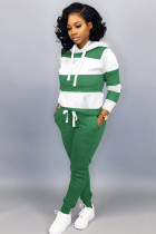 Green Cotton Street Fashion adult Bandage Two Piece Suits Striped pencil Long Sleeve  Two-piece Pants Set