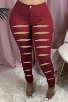 Wine Red Fashion Casual Solid Ripped Skinny Jeans