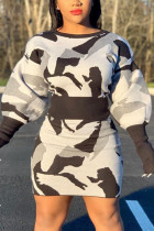 White Sexy Print Split Joint O Neck Long Sleeve Two Pieces