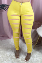 Yellow Fashion Casual Solid Ripped Skinny Jeans